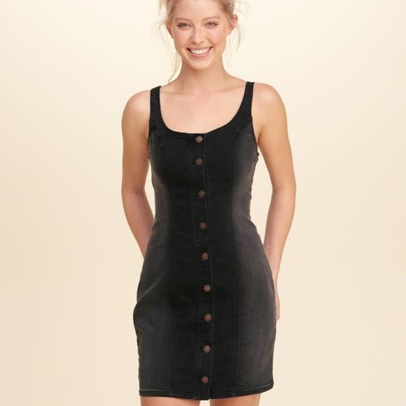 f747e8d438 Button-Front Denim Bodycon Dress in Black